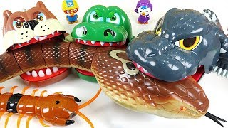 Giant King cobra appeared! Go! Crocodile, Dinosaurs, Bulldog! - DuDuPopTOY