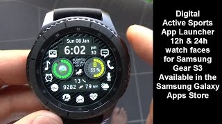 Samsung Gear S3 Digital Sports App Launcher Watch Face with Steps, Heart Rate, Music, Task Manager