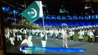 Pakistani Squad's Entrance In London Olympics 2012 Opening Ceremony.