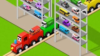 Learn Colors with Preschool Toy Train and Multi Level Parking Street Vehicles Toys