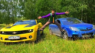 Mr. Joe on Opel Vectra OPC VS Green Man on Chevy Camaro in Funny Race in Forest for Kids