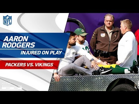 Aaron Rodgers Injured After Taking a Hit from Anthony Barr Packers vs. Vikings NFL Wk 6