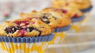 Buttermilk Berry Muffins Recipe Demonstration - Joyofbaking.com