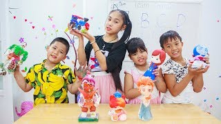 Kids Go To School | Chuns Learn Painting Statue Rainbow Color With Friends In Class Fun