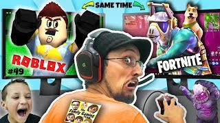 PLAYING FORTNITE & ROBLOX @ SAME TIME! FGTEEV Scary Elevator Monster Mashup w/ Bendy, FNAF, Neighbor