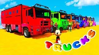FUN LEARN COLORS HEAVY TRUCKS w/ SUPERHEROES Cartoon 3D Animation for Kids
