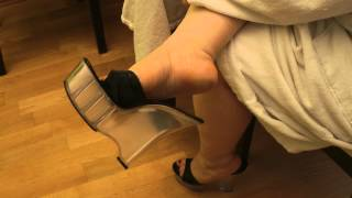 Dangling with wedges mules