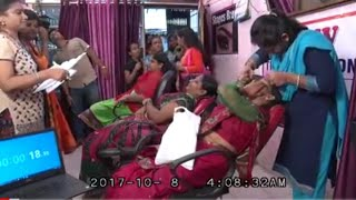 Eyebrow threading Guinness book of world record attempt In Ambernath (India) 56 person in 54 Minutes