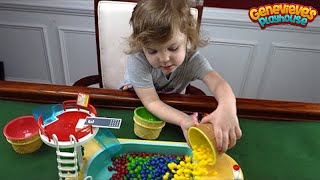 Learn Colors for Kids Video: Peppa Pig at the Rainbow Candy Pool with Cute Kid Genevieve!