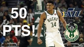 Rapid Highlights of Giannis Antetokounmpo Scoring 50 Points vs. Utah Jazz! 11.25.2019