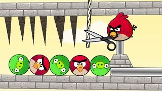 Angry Birds Pigs Out - CUT ROPE TO RESCUE BIRD AND KICK OUT ROUND PIGS!