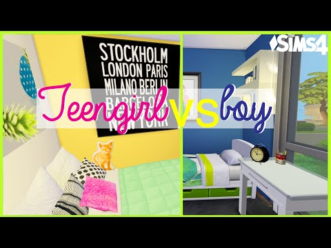 The Sims 4 |Teen Boy AND Girl Bedroom makeovers