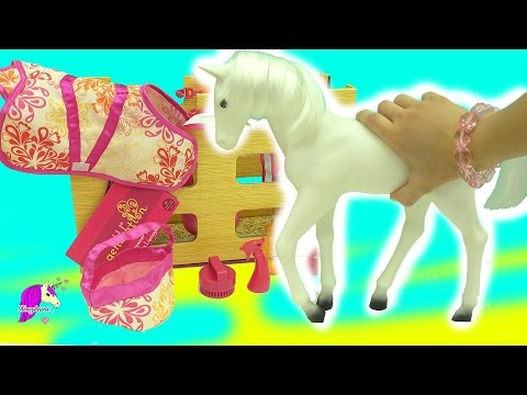 Giant Lipizzaner Foal Model Horse Our Generation Girl Doll Horse - Honeyheartsc Video