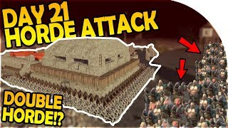 DAY 21 HORDE ATTACK - DOUBLE HORDE ATTACK - NEW BASE MOVE - 7 Days to Die Alpha 16 Gameplay Part 31
