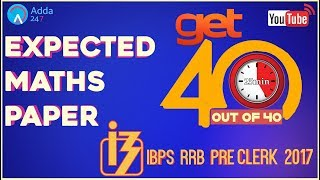 Expected Maths Paper Of IBPS RRB CLERK PRE 2017   Maths    Online Coaching for SBI IBPS Bank PO