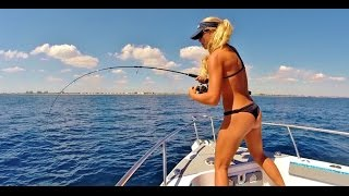 Florida Bikini Girl Hooks Big Sailfish Offshore Gopro Video
