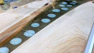 Wood and Resin River Glow Table w/ Cypress Wood - Ocean and Beach Inspired
