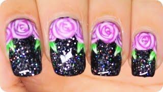 REMAKE: Pink Roses on Black nail art