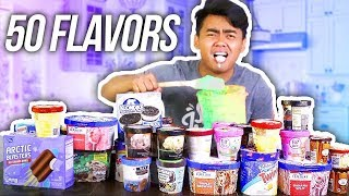 MIXING 50 ICE CREAM FLAVORS TOGETHER AND EATING IT!