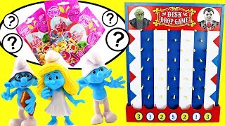 Smurfs Disk Drop Game w Smurfette Brainy Papa Smurf Hefty Clumsy Gargamel Blind Bags Toy Surprises!