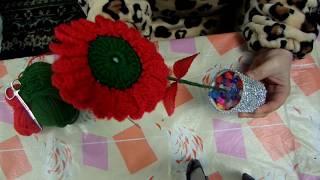 كروشيه / كروشي وردة مجسمة مع ديكور جميل
