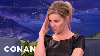 Elisha Cuthbert Stares Down Airplane Pudding Slurper - CONAN on TBS