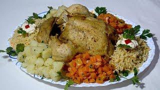 دجاجة بكامونها مطهوة بدون زيت وبدون ماء وبدون فرن لذيذة جدا وصحية مرفقة بالأرز والخضار