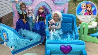 Disney Frozen Sleigh Ride-On Princess Castle Egg Hunt Power Wheels Elsa Anna