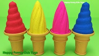 Learn Colors with Kinetic Sand Ice Cream Play Doh Doraemon Football Reindeer Boat Molds Fun for Kids