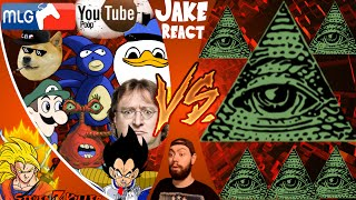 MLG and YOUTUBE POOP vs ILLUMINATI! FINAL FACE OFF! Cartoon Fight Club (Ep 33) Jake REACT!!!