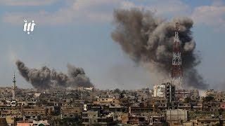 مشاهد لعدد من غارات الطيران الحربي الروسي والبراميل المتفجرة مدينة درعا البلد 25-3-2017