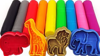 Learn Colors with 9 Color Play Doh Modelling Clays and Wild Animal Molds Zuru 5 Surprise Toys