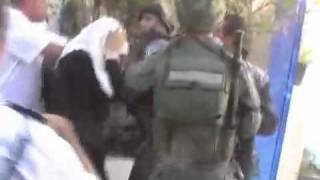 Israeli Soldier Hit a Palestinian Woman On Her Head By His Helmet.mp4