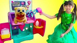 Emma Pretend Play Feeding & Giving Bath To Pet Animals Toys for Kids