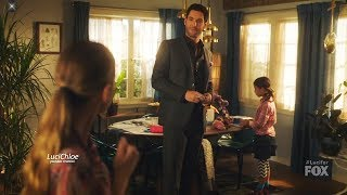 Lucifer 3x05 Opening Scene Chloe Luci Trixie & the Swear Jar Season 3 Episode 5 S03E05