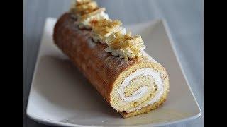 طرز تهیه رولت خامه ای به سبک قنادی | Best Cream Swiss Roll Recipe - Eng Subs
