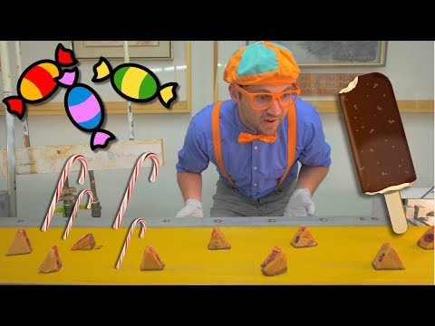 Blippi Tours the Chocolate Factory Learn about Food for Children