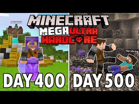 I Survived 500 Days in Mega Ultra Hardcore Minecraft FINALE Minecraft Hardcore 100 Days