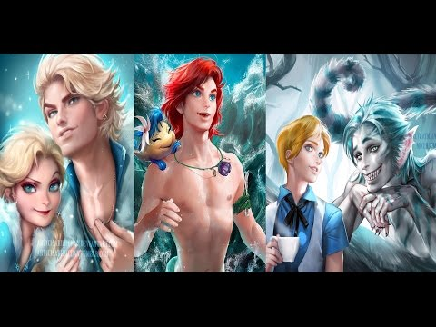 Princesas de Disney; vueltas hombres cambio de sexo►Disney princesses reimagined as men►Homem