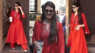 Jacqueline Fernandez In Red Dress Spotted At KWAN Office In Andheri