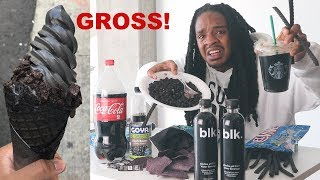 I Only Ate BLACK FOODS For 24 HOURS! (never again)