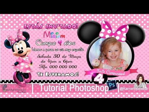 Invitación de cumpleaños Minnie Tutorial Photoshop curso Candybar karmenquesada