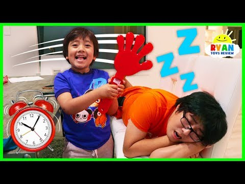 Ryan Pretend Play Waking Up Daddy with Musical Instruments and sing songs for Kids