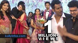 Wow Full video !! Rajinikanth, Vijay, Hansika More Celebrities at Vishal 's sister Wedding Reception