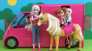 Camper! Elsa's barbecue! Picnic S'mores Horse riding! Camping & Play in Barbie's Camper Van!