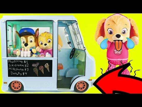 Paw Patrol Ice Cream Truck Refrigerator Fridge Supermarket Shopping Pig Toddlers Learning Kids Rocks