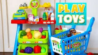 Playing Toy Super Market Grocery shopping store cart to Learn names of Fruit & Vegetables in english