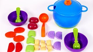 Cooking Play Pretend Foods with Vegetables Playset for Children Learn Colors for Kids
