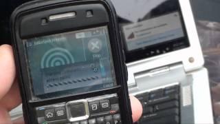 Using a Straight Talk Nokia E71 with JoikuSpot as a wifi hotspot.