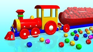 Kids Learn Colors with 3D Train - Colorful Surprise balls for children ,truck ,bus [BouncingBabyTV]